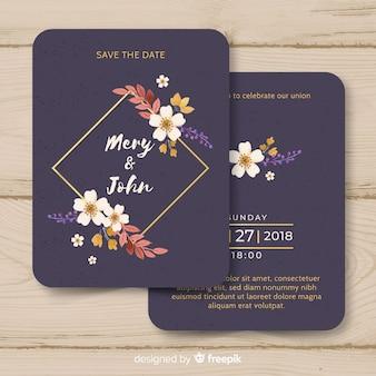Modèle d'invitation de mariage aquarelle avec des lignes dorées