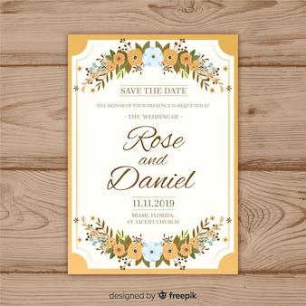 Modèle d'invitation de mariage floral avec cadre doré