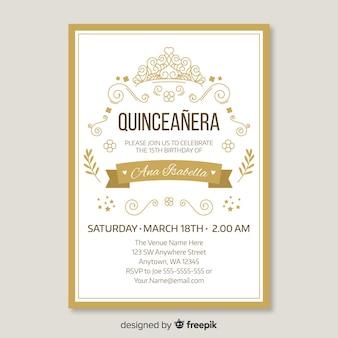 Modèle d'invitation doré Quinceanera