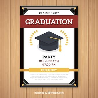 Modèle d'invitation élégante fête de graduation avec design plat
