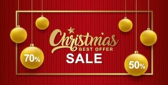 Modèle de bannière de vente de Noël boules et cadre