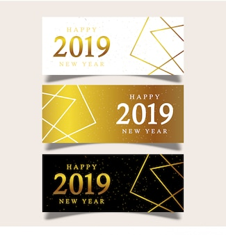 Modèle de bannière nouvel an avec des éléments géométriques