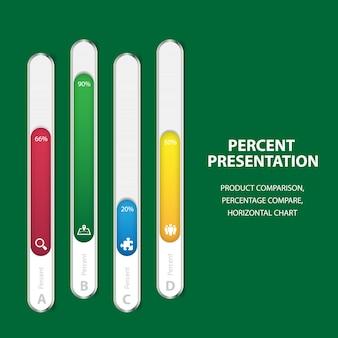 Modèle de barre de pourcentage infographie métier avec 4 options