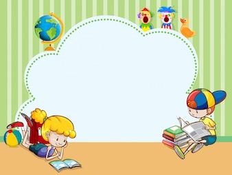 Modèle de bordure avec des enfants qui lisent des livres