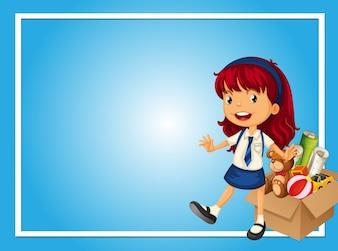 Modèle de bordure avec une fille et une boîte de jouets