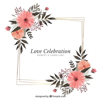 Modèle de cadre de mariage floral