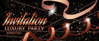 Modèle de carte d'or Invitation Luxury Party avec ruban