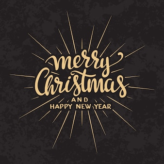 Modèle de carte de conception lettrage calligraphique texte joyeux Noël.