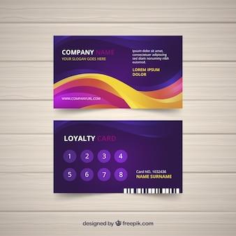 Modèle de carte de fidélité avec un style coloré