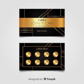 Modèle de carte de fidélité élégant avec style doré