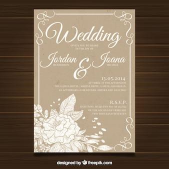 Modèle de carte de mariage avec style vintage