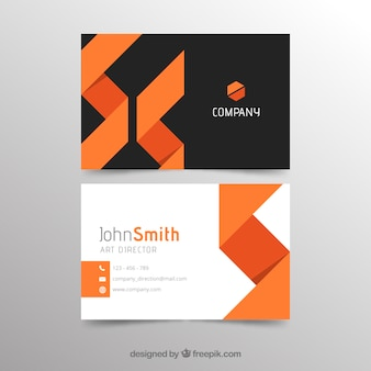Modèle de carte de visite abstrait orange et noir