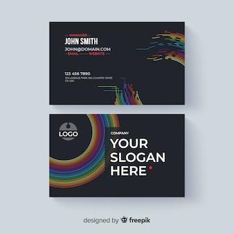 Modèle de carte de visite abstraite avec style coloré