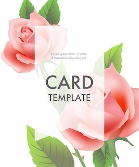 Modèle de carte de voeux avec des roses roses et un cadre transparent sur fond blanc.