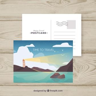 Modèle de carte postale avec concept de voyage