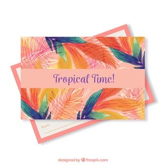 Modèle de carte postale de voyage d'été avec style aquarelle