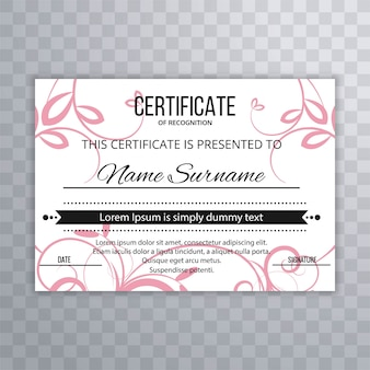 Modèle de certificat abstrait modèle floral