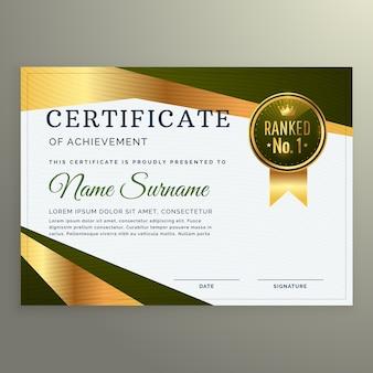 Modèle de certificat de luxe dans un style géométrique