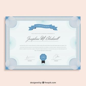 Modèle de certificat élégant bleu