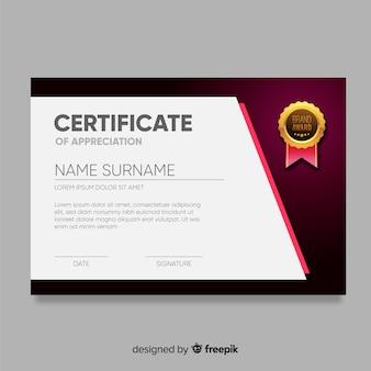 Modèle de certificat en dessin abstrait