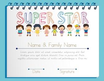 Modèle de certificat pour super star avec beaucoup d'enfants