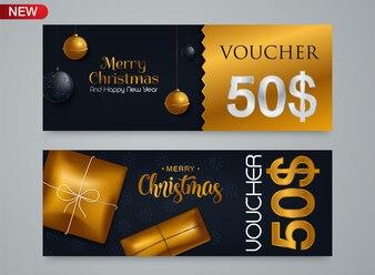 Modèle de chèque-cadeau pour le coupon de réduction de Noël et du nouvel an