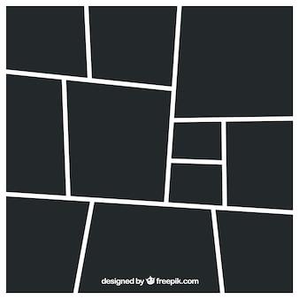 Modèle de collage de cadre photo noir