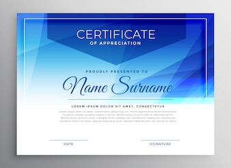 Modèle de conception de certificat de prix bleu abstrait