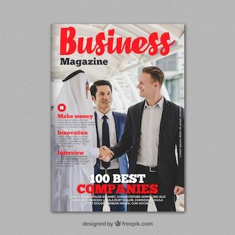 Modèle de couverture de magazine d'entreprise avec photo
