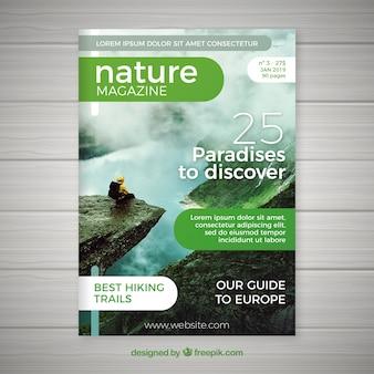 Modèle de couverture de magazine nature avec photo