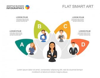 Modèle de diagramme de processus d'équipe de cinq collègues pour la présentation