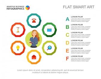 Modèle de diagramme de processus de liste de six points pour la présentation