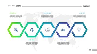 Modèle de diagramme de processus de workflow en cinq étapes. Visualisation des données d'entreprise.