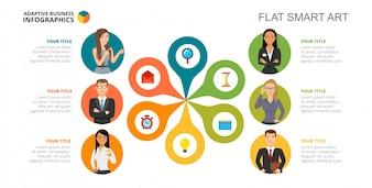 Modèle de diapositive d'équipe de six travailleurs