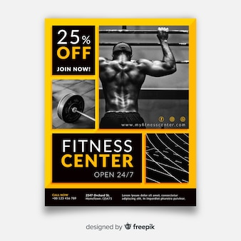 Modèle de flyer de gym moderne avec photo