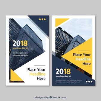 Modèle de flyer jaune abstrait affaires