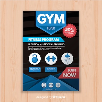 Modèle de flyer plat gym