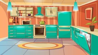 Modèle de fond intérieur de cuisine moderne. Salle à manger de dessin animé avec des meubles