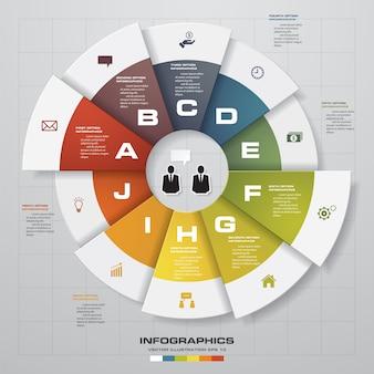 Modèle de graphique infografics 10 étapes.