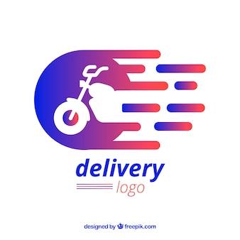 Modèle de logo de livraison avec moto