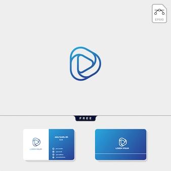 Modèle de logo initial D, modèle de conception de carte de visite inclus