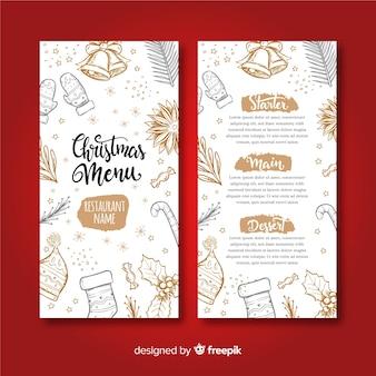 Modèle de menu de Noël dessiné main belle