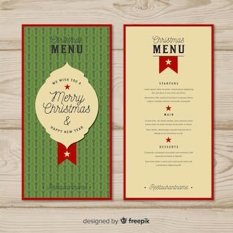 Modèle de menu de Noël Vintage