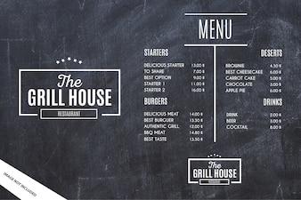 Modèle de menu de restaurant avec fond grunge