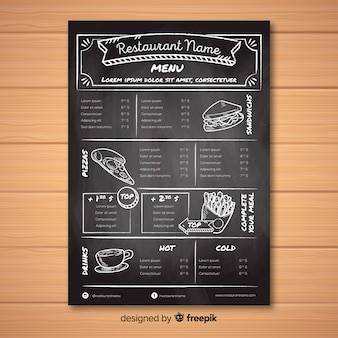Modèle de menu de restaurant avec style tableau noir