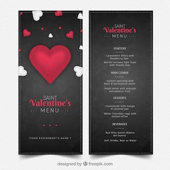 Modèle de menu élégante Saint-Valentin foncé