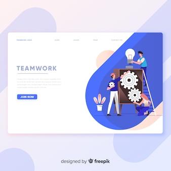 Modèle de page d'atterrissage de travail d'équipe