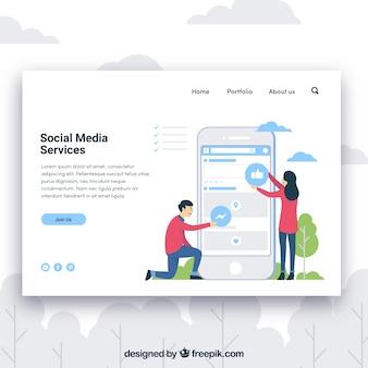 Modèle de page de destination avec concept de services de médias sociaux