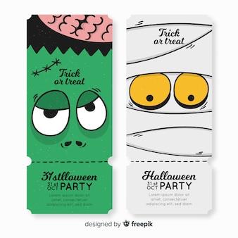 Modèle de ticket de fête halloween coloré dessiné à la main
