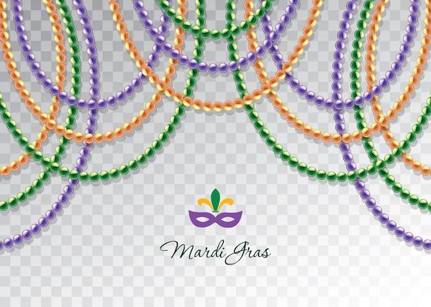 Modèle décoratif horizontal de guirlandes de perles de mardi gras.
